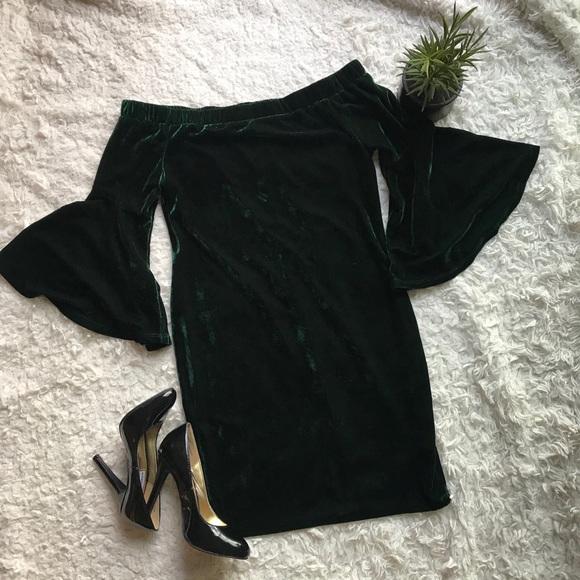e0756f3b31 Gianni Bini Dresses   Skirts - 🔹Gianni Bini OffShoulder Bell Sleeve velvet  Dress